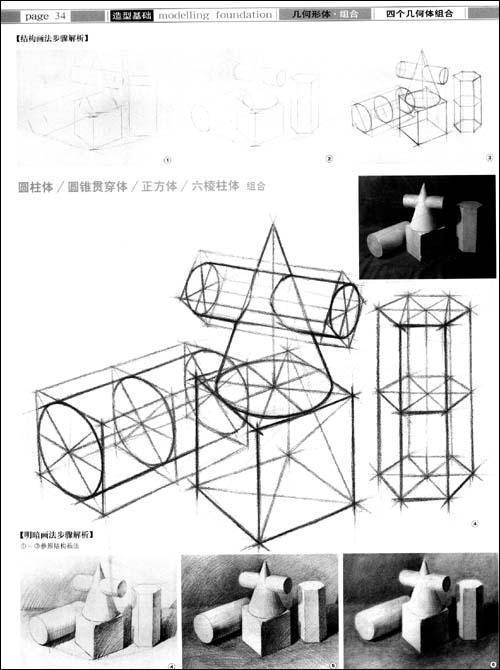圆锥结构图素描