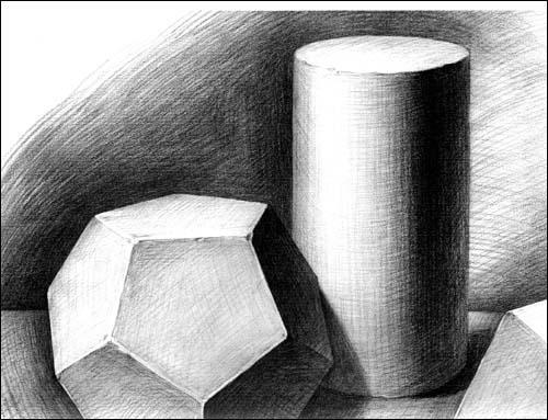 素描几何形体八棱柱1视频图片