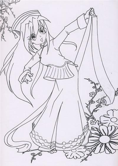 动漫古装女孩简笔画|古代动漫女孩简笔画图片