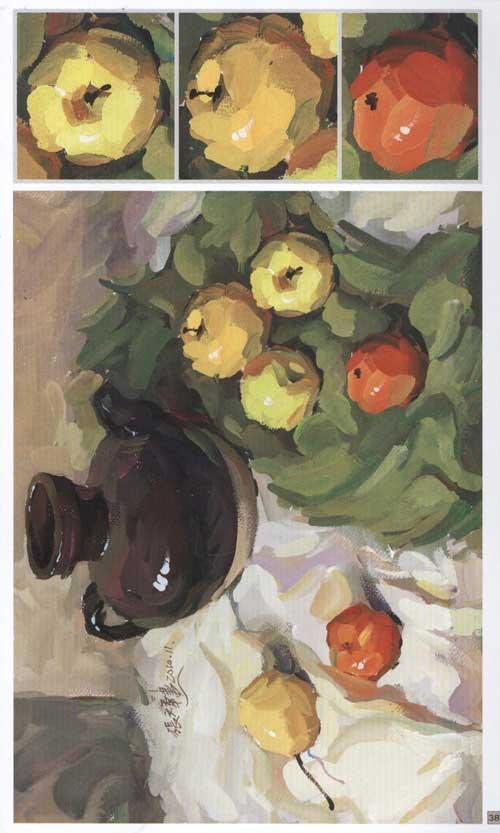 临摹要点 范画表现 水果类静物 ?步骤说明 蔬菜类静物 ?