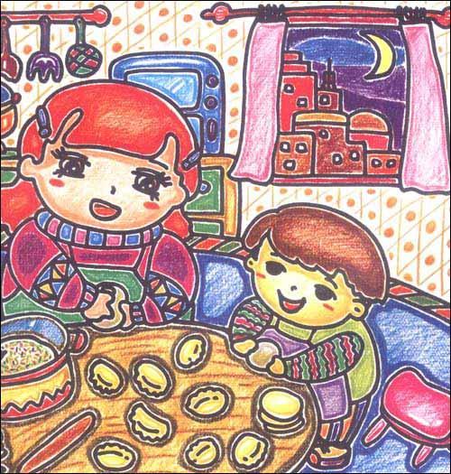 瑶-少儿   春天彩色铅笔画风景-美丽的荷   儿童彩色铅笔画-我得奖啦
