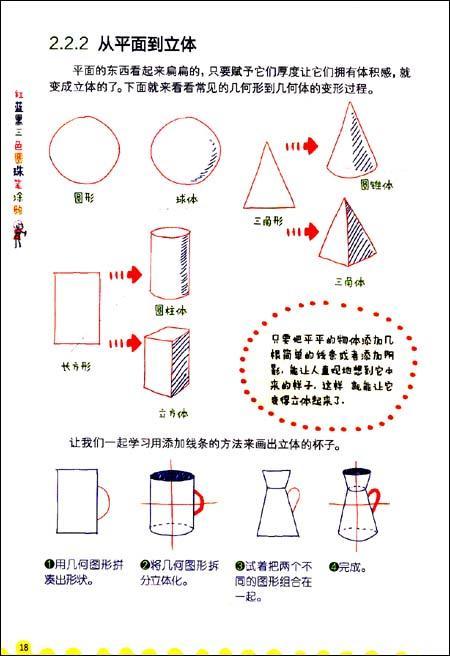 红蓝黑三色圆珠笔涂鸦-飞乐鸟-技法教程-文轩网