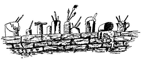 石头建筑黑白矢量图