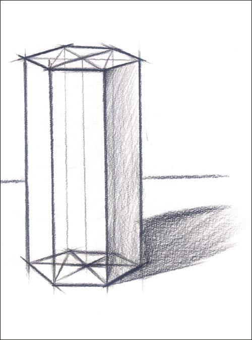 六棱柱结构素描步骤